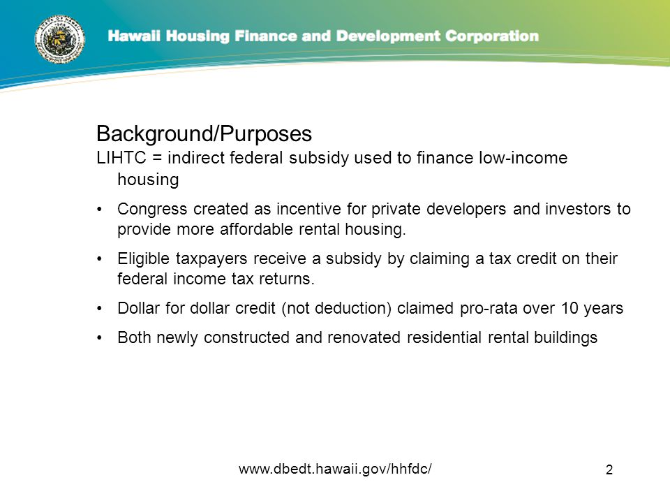 LOW-INCOME HOUSING TAX CREDITS - ppt download