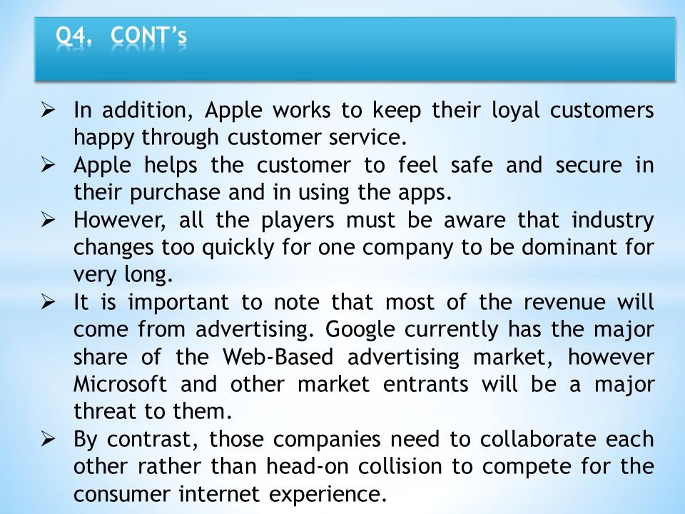 Q4. CONT's In addition, Apple works to keep their loyal customers happy through customer service.