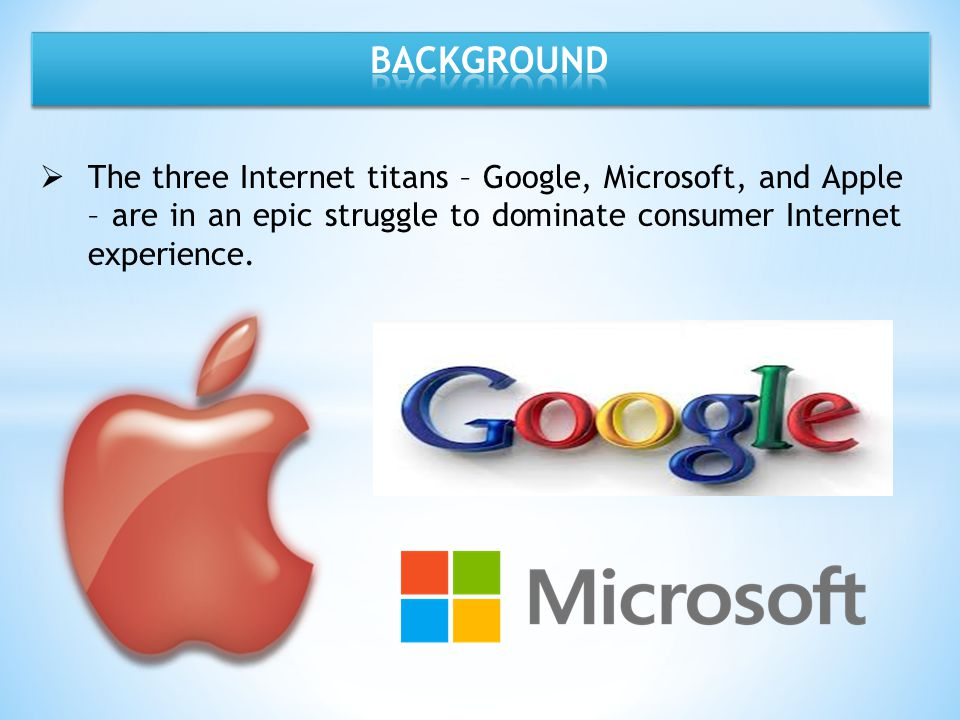 BACKGROUND The three Internet titans – Google, Microsoft, and Apple – are in an epic struggle to dominate consumer Internet experience.