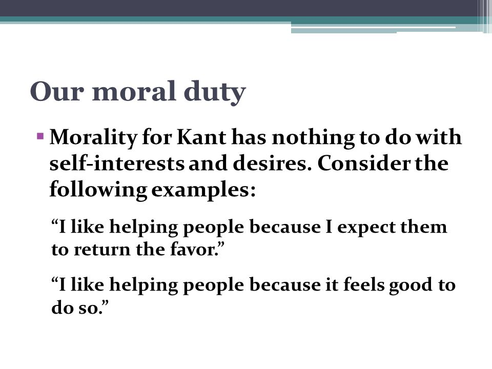 kants views on morality 1 the categorical imperative one of immanual kant's formulations of the categorical imperative, the supreme principle of morality, or moral law for short, is as fol.