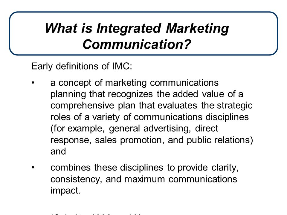 an essay presenting integrated marketing communications imc Summary overview direct marketing is a form of integrated marketing communications whereby an organization communicates directly with target customers to generate a response and/or transaction.
