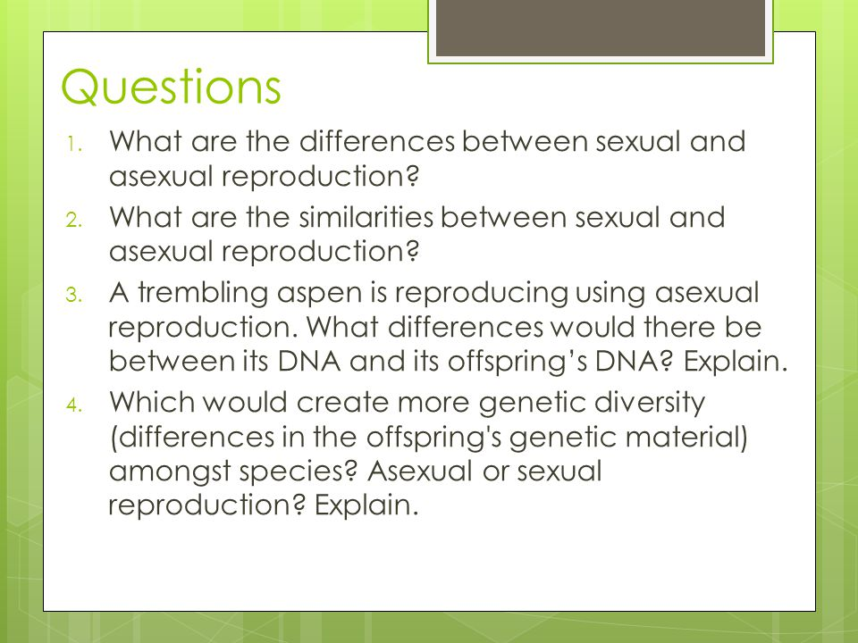 Genetic diversity in asexual reproduction the offspring