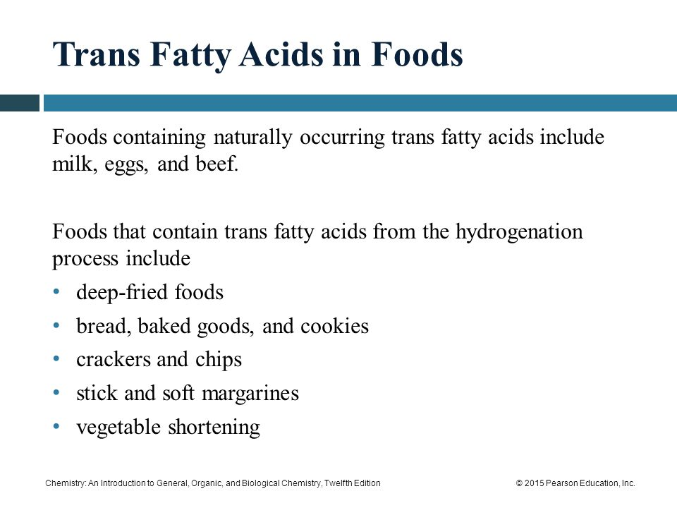 Trans Fatty Acids in Foods