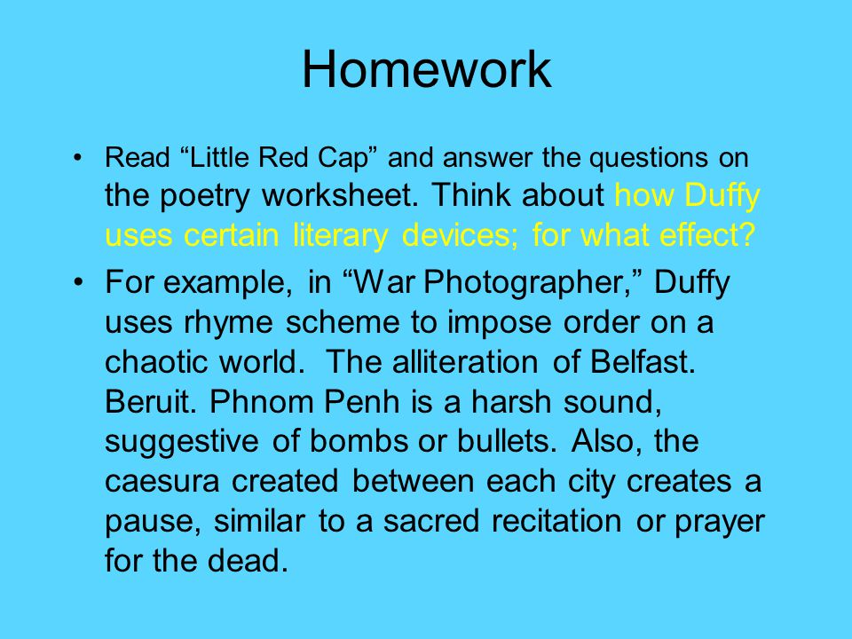 little red cap carol ann duffy summary