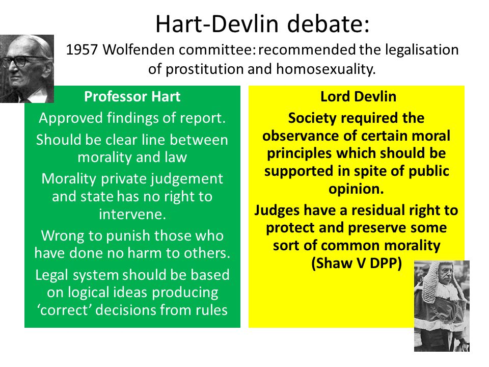 hart devlin debate Of particular interest in this area is the fascinating debate between hla hart and sir patrick devlin sparked by the publication of the wolfenden report on homosexual offences and prostitution their analysis of the desirability of regulating morality is a vital addition to any consideration of this question and will form a large part of my.