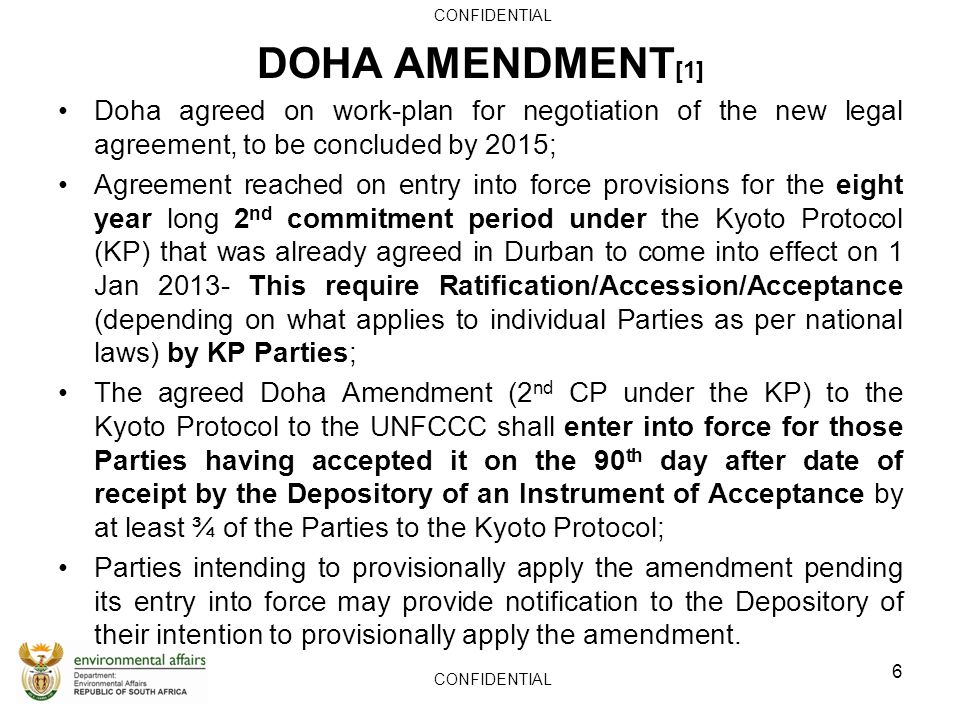 Confidential The Doha Amendment To The Kyoto Protocol To The United