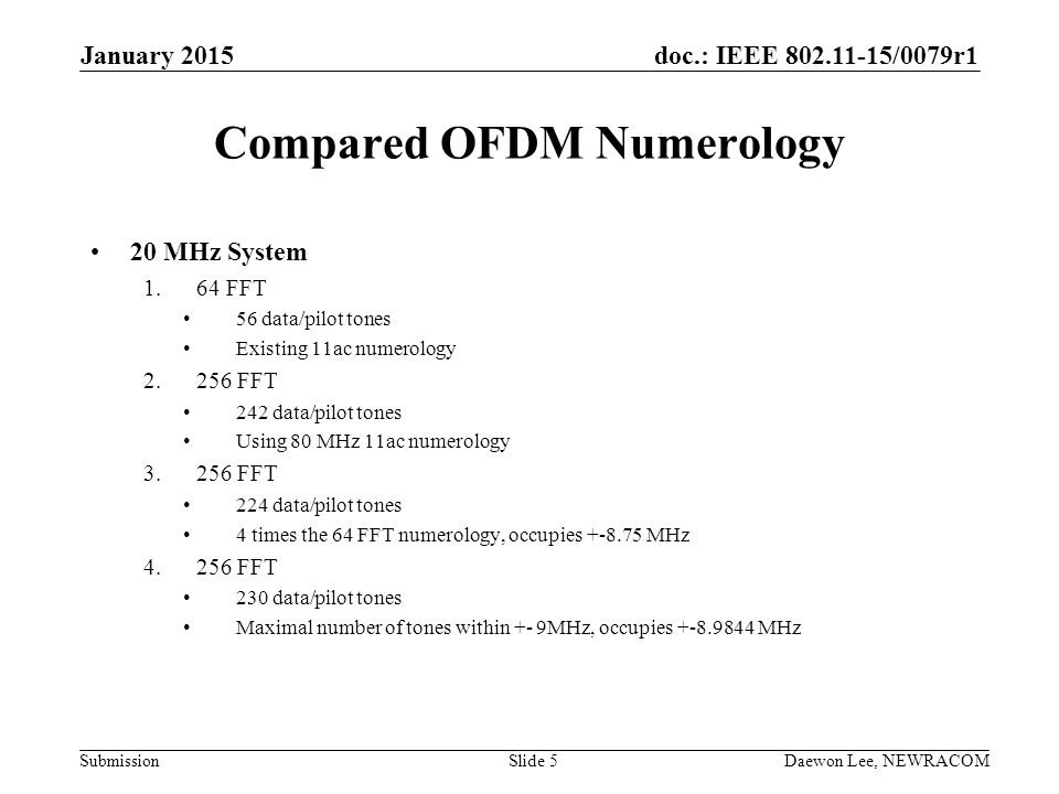 Compared OFDM Numerology