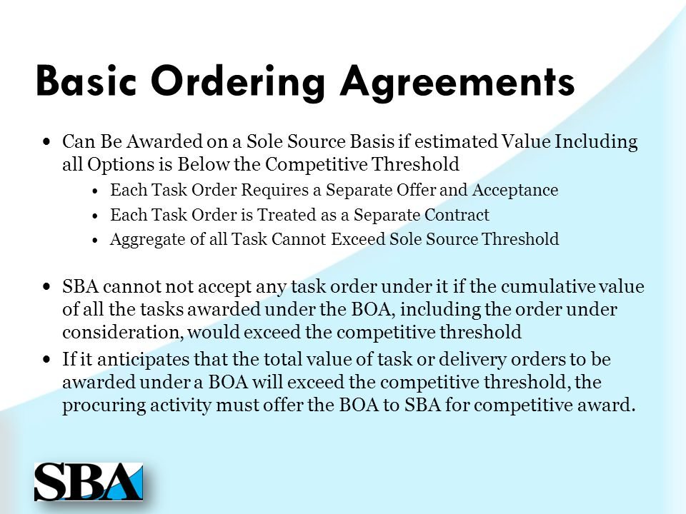 Basic Ordering Agreements