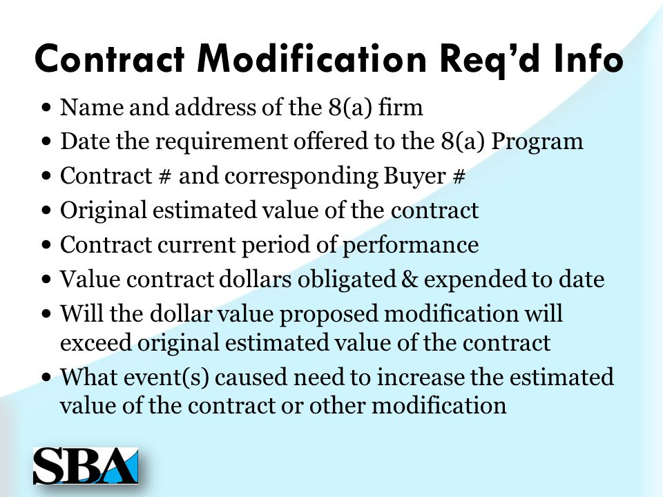 Contract Modification Req'd Info
