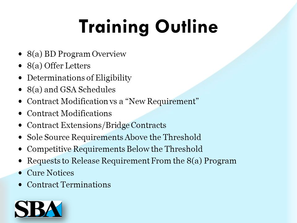 Training Outline 8(a) BD Program Overview 8(a) Offer Letters