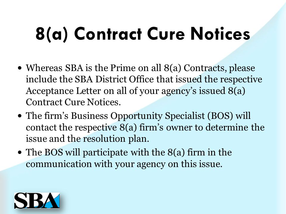 8(a) Contract Cure Notices