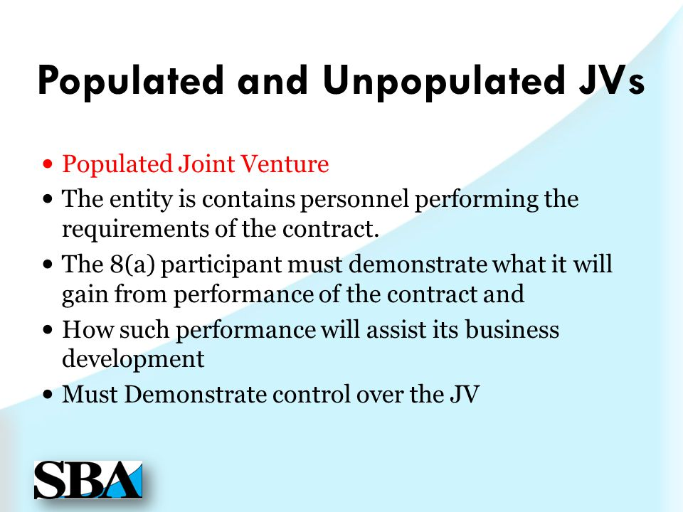 Populated and Unpopulated JVs