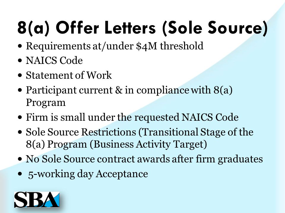8(a) Offer Letters (Sole Source)