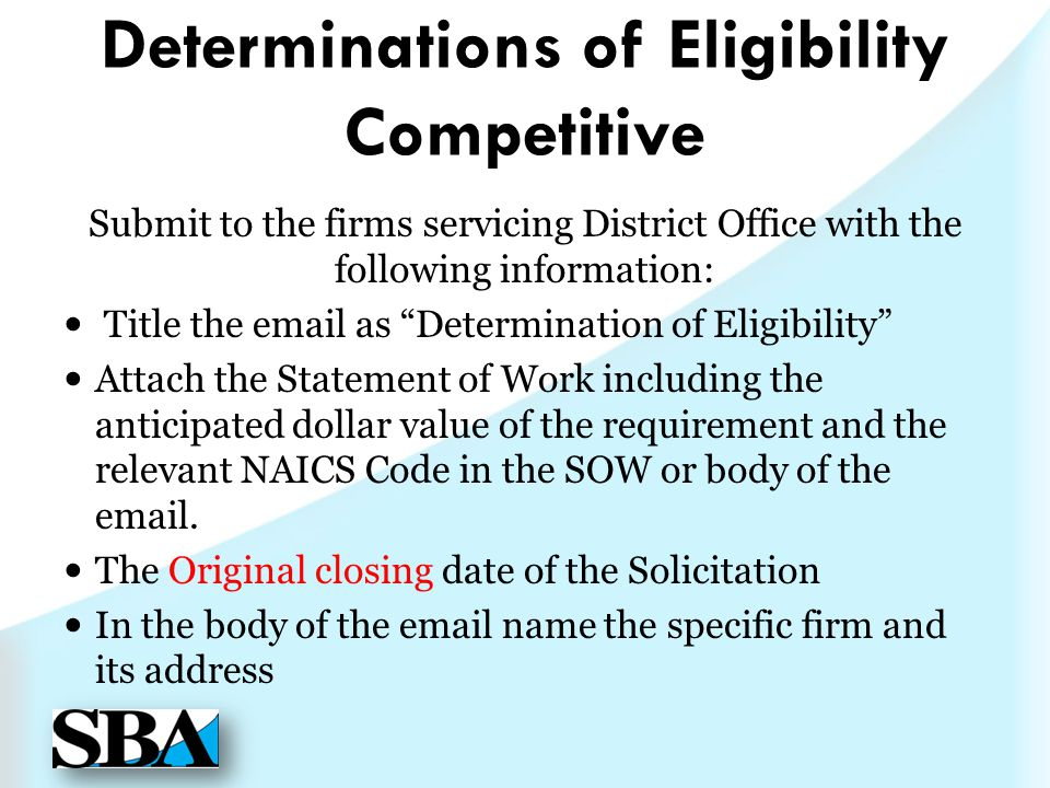 Determinations of Eligibility Competitive