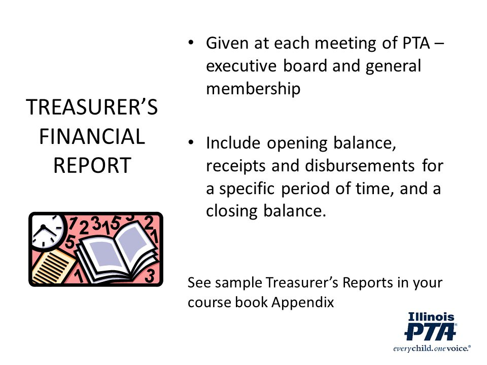 TREASURER'S FINANCIAL REPORT
