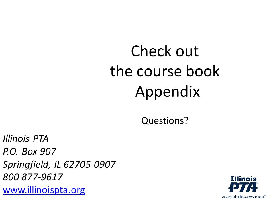 Check out the course book Appendix Questions