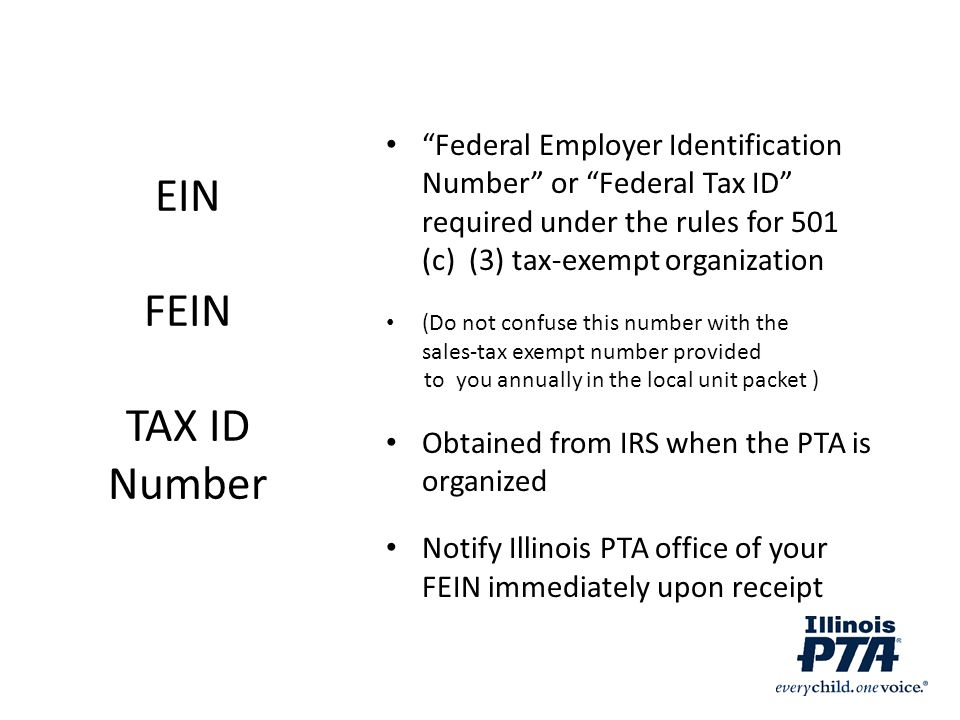 Federal Employer Identification Number or Federal Tax ID required under the rules for 501 (c) (3) tax-exempt organization