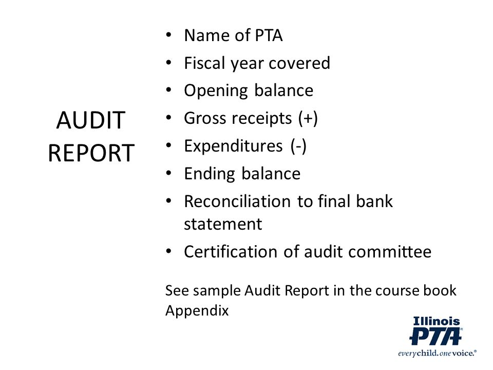 AUDIT REPORT Name of PTA Fiscal year covered Opening balance