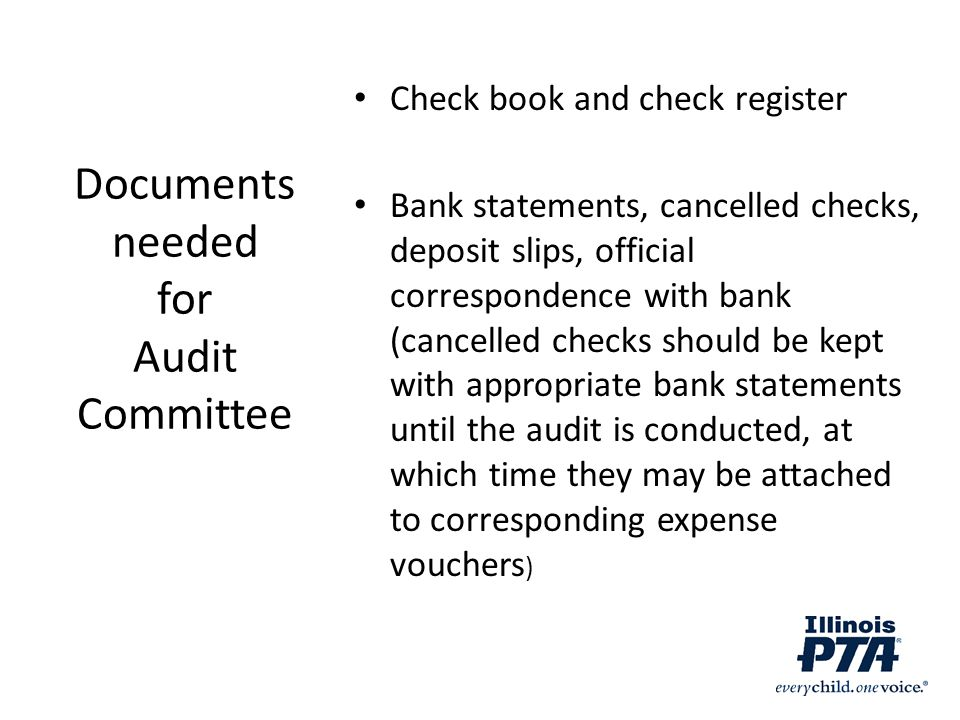 Documents needed for Audit Committee
