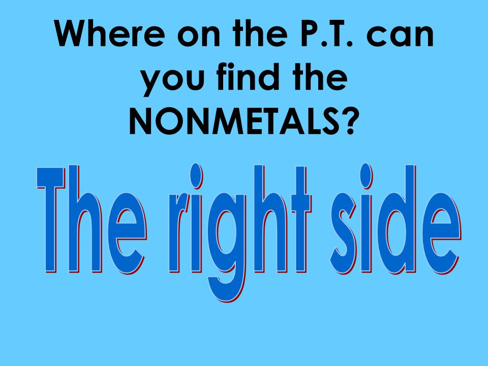 Where on the P.T. can you find the NONMETALS