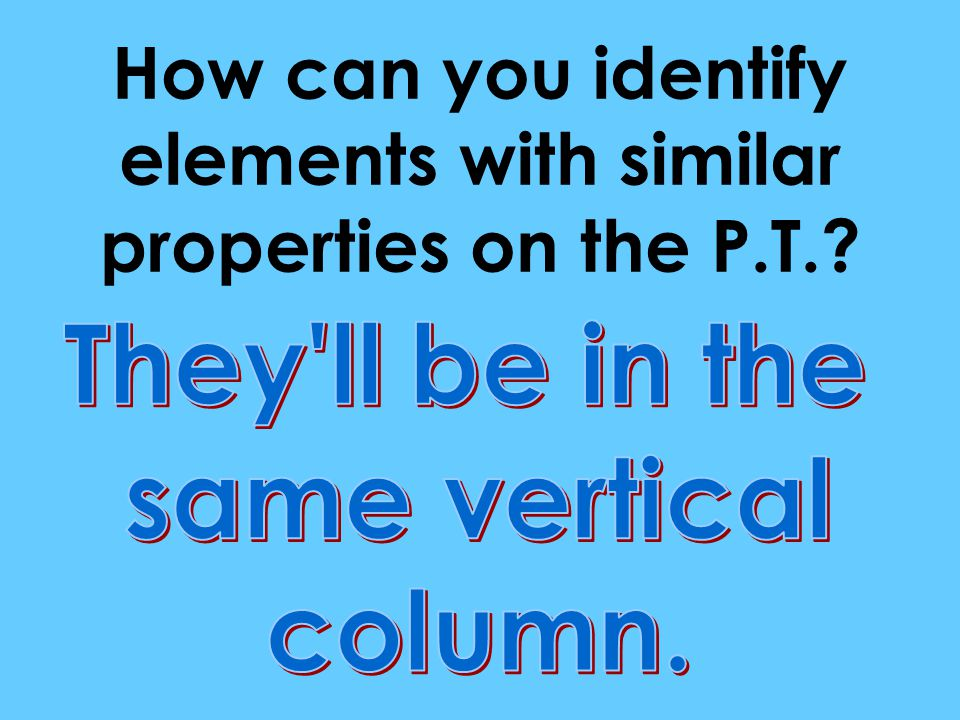 How can you identify elements with similar properties on the P.T.