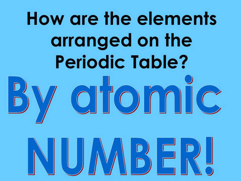 How are the elements arranged on the Periodic Table