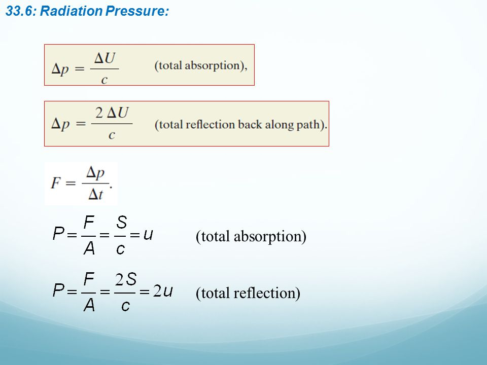 33.6: Radiation Pressure: (total absorption) (total reflection)