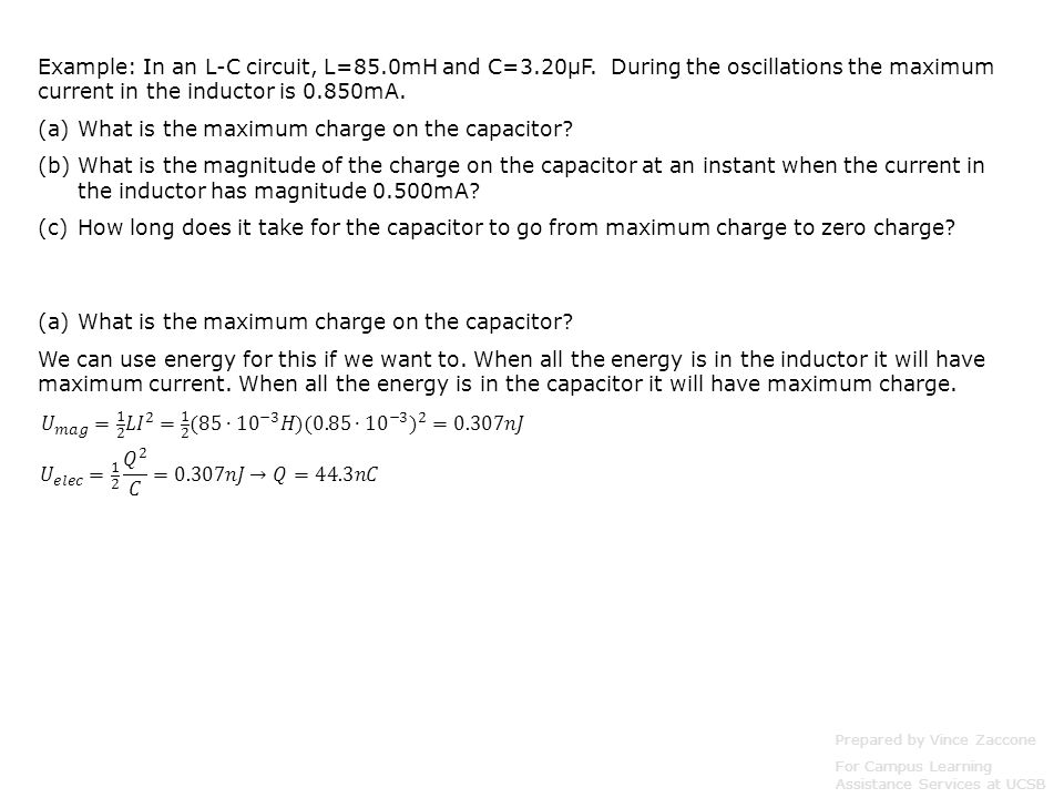 What is the maximum charge on the capacitor