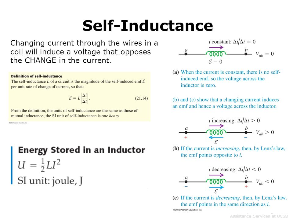 Self-Inductance Changing current through the wires in a coil will induce a voltage that opposes the CHANGE in the current.