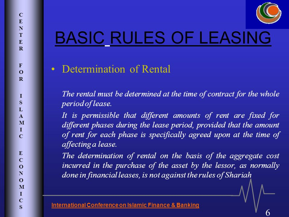 BASIC RULES OF LEASING Determination of Rental