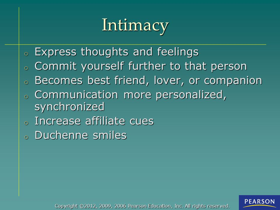 Intimacy Express thoughts and feelings