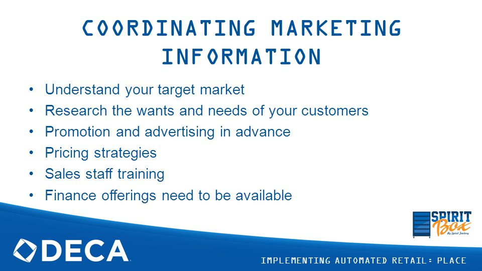 COORDINATING MARKETING INFORMATION