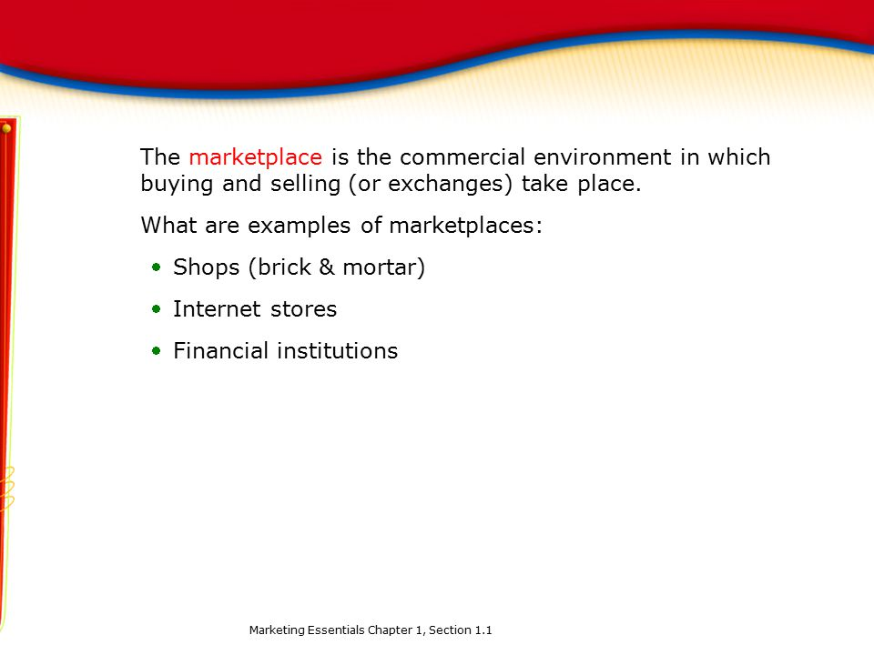 What are examples of marketplaces: Shops (brick & mortar)