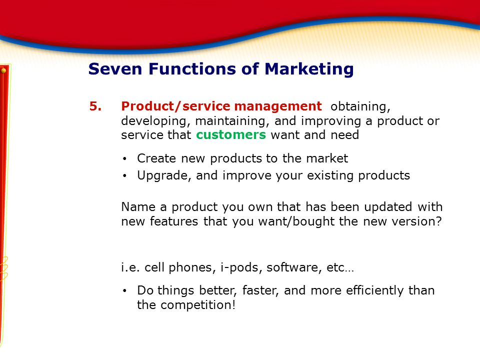 Seven Functions of Marketing