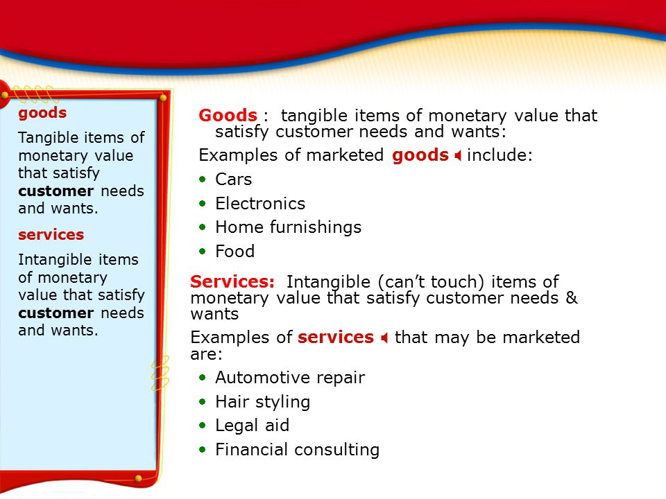 Examples of marketed goods X include: Cars Electronics