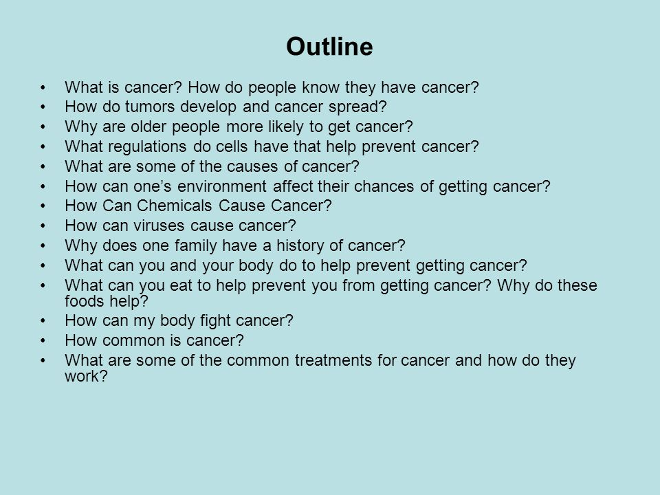 Outline What is cancer How do people know they have cancer