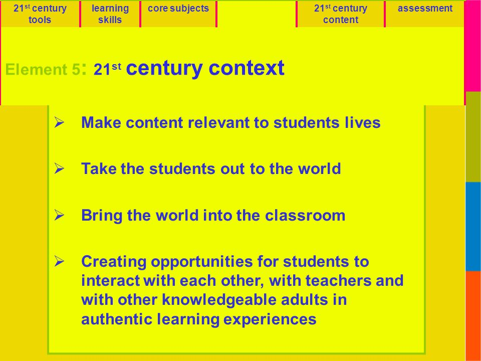 Emphasize 21st Century Context