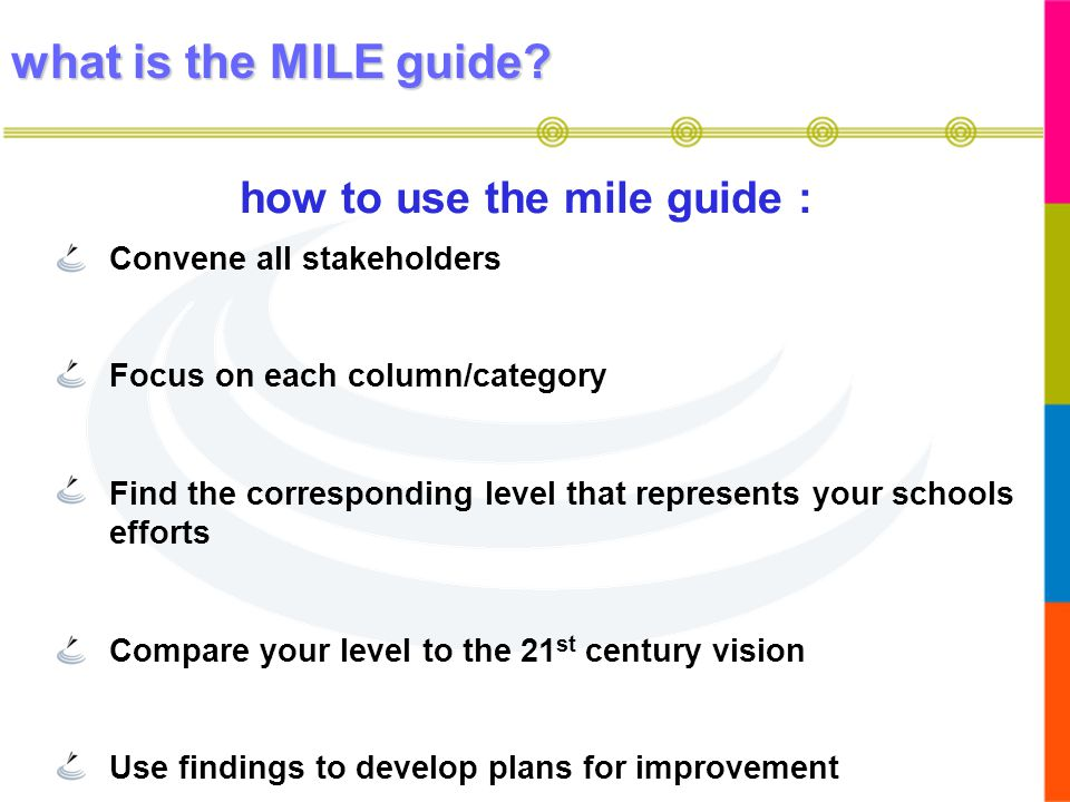 how to use the mile guide :