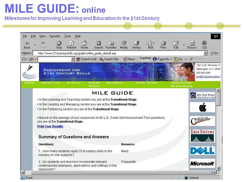MILE GUIDE: online Milestones for Improving Learning and Education in the 21st Century