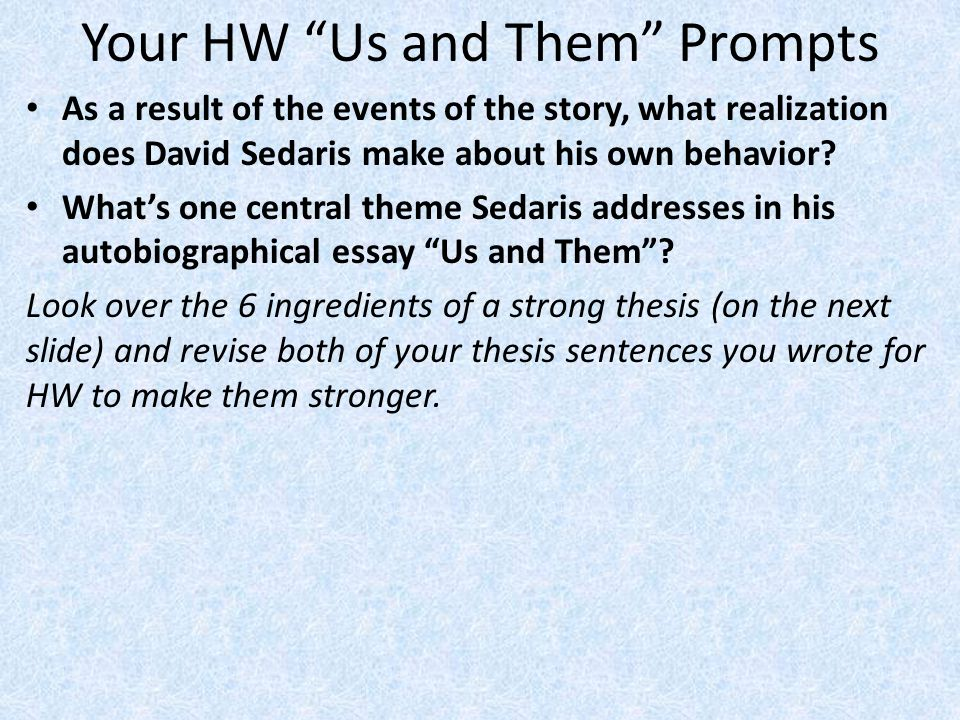 Your HW Us and Them Prompts