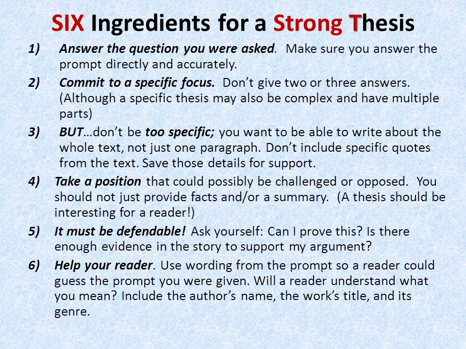 how to make a strong thesis statement