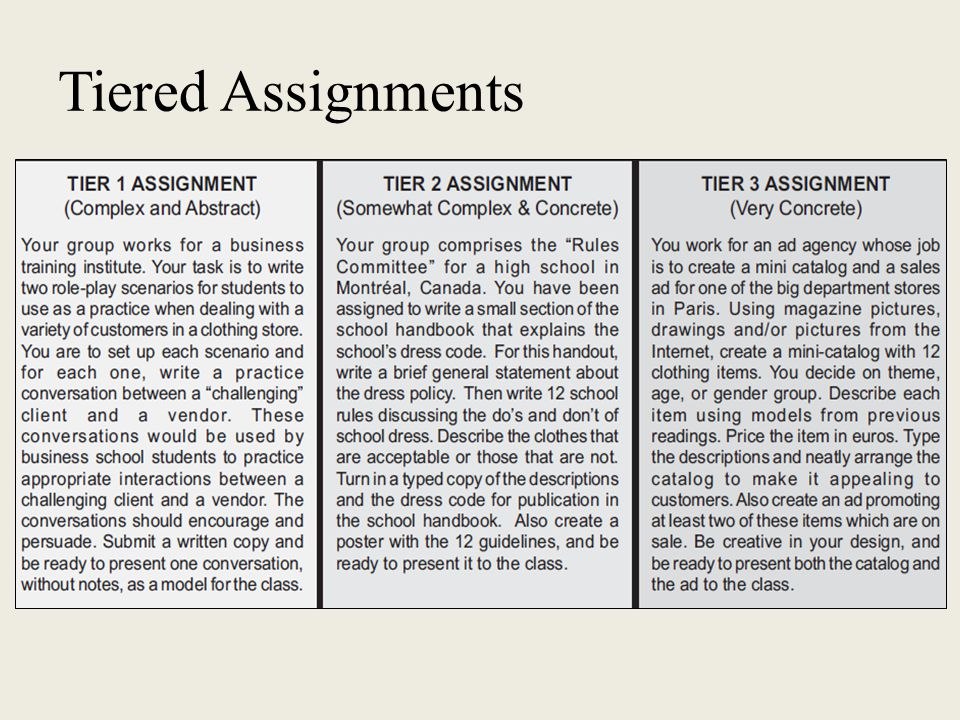 tiered assignment