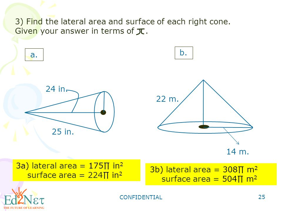 how to find area of 2d cone