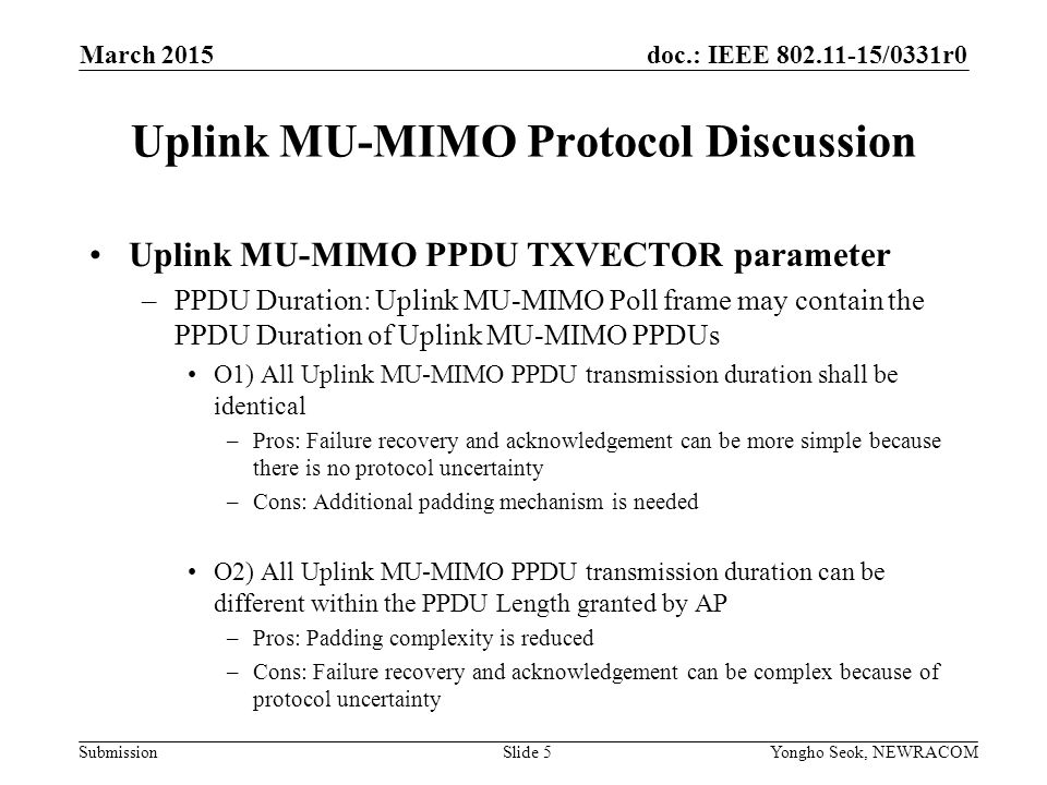 Uplink MU-MIMO Protocol Discussion