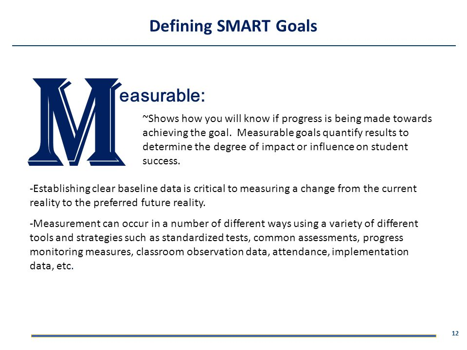 M Defining SMART Goals easurable: