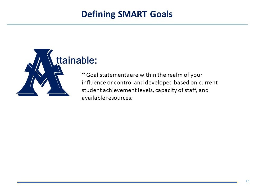 A Defining SMART Goals ttainable: