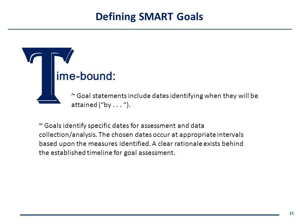T Defining SMART Goals ime-bound:
