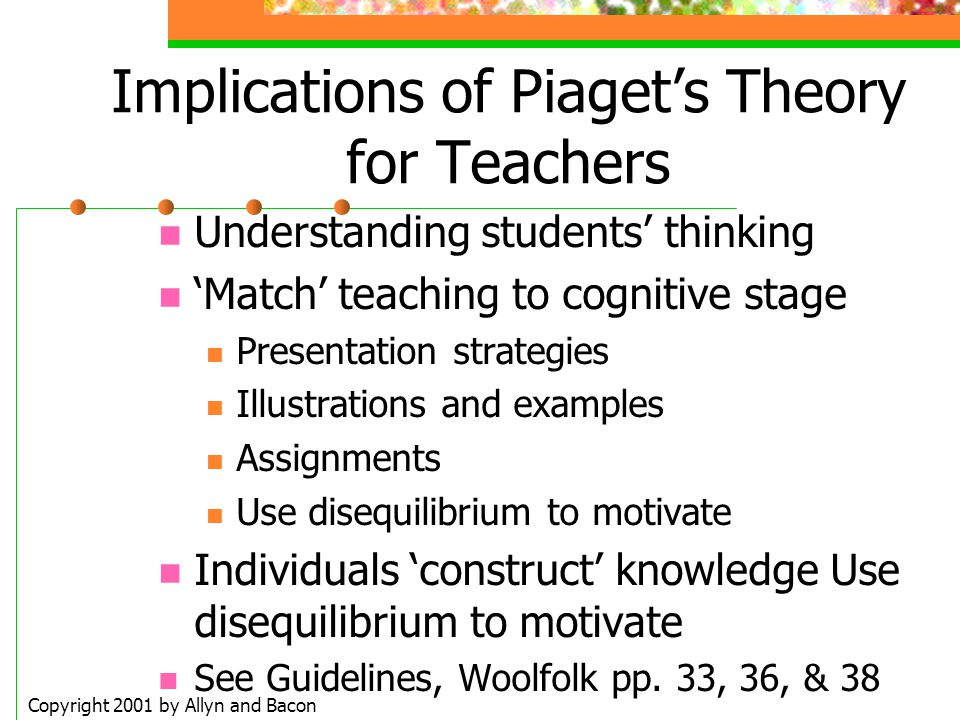 Implications of Piaget's Theory for Teachers