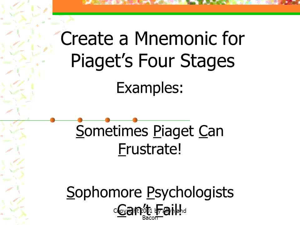 Create a Mnemonic for Piaget's Four Stages
