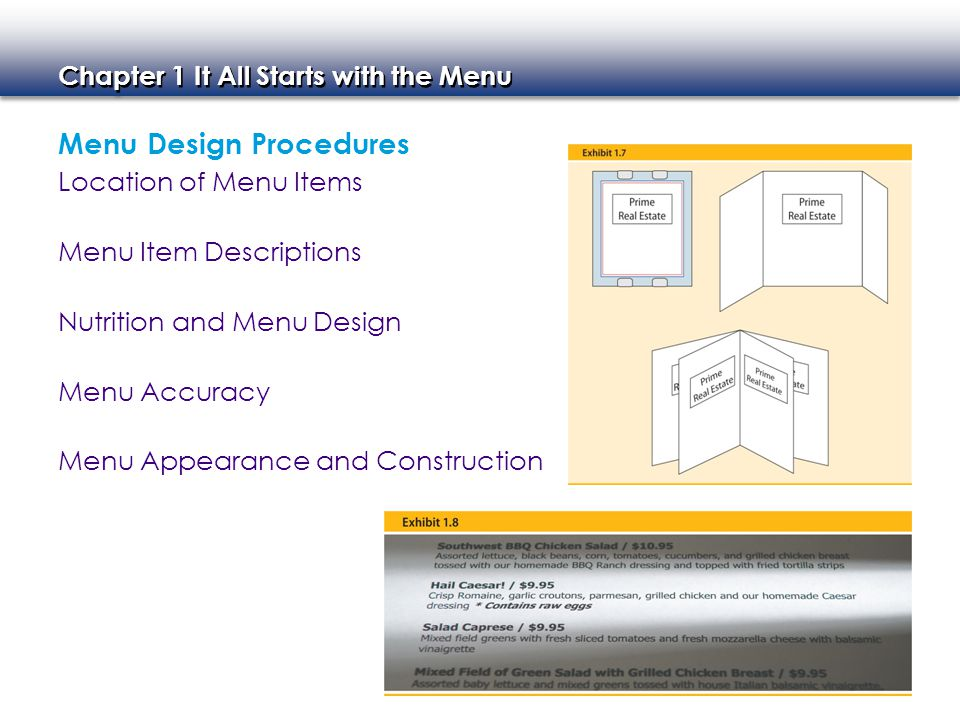 Menu Design Procedures